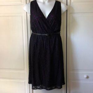 NWT Blk lace+fuschia Lane Bryant party dress 14/16